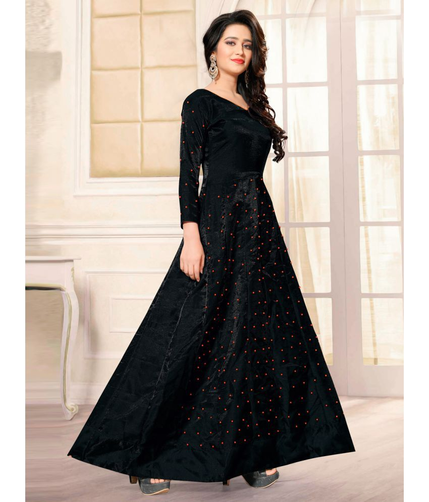 440ead764 ... Greenvilla Designs Black Bangalore Silk Anarkali Gown Semi-Stitched  Suit ...