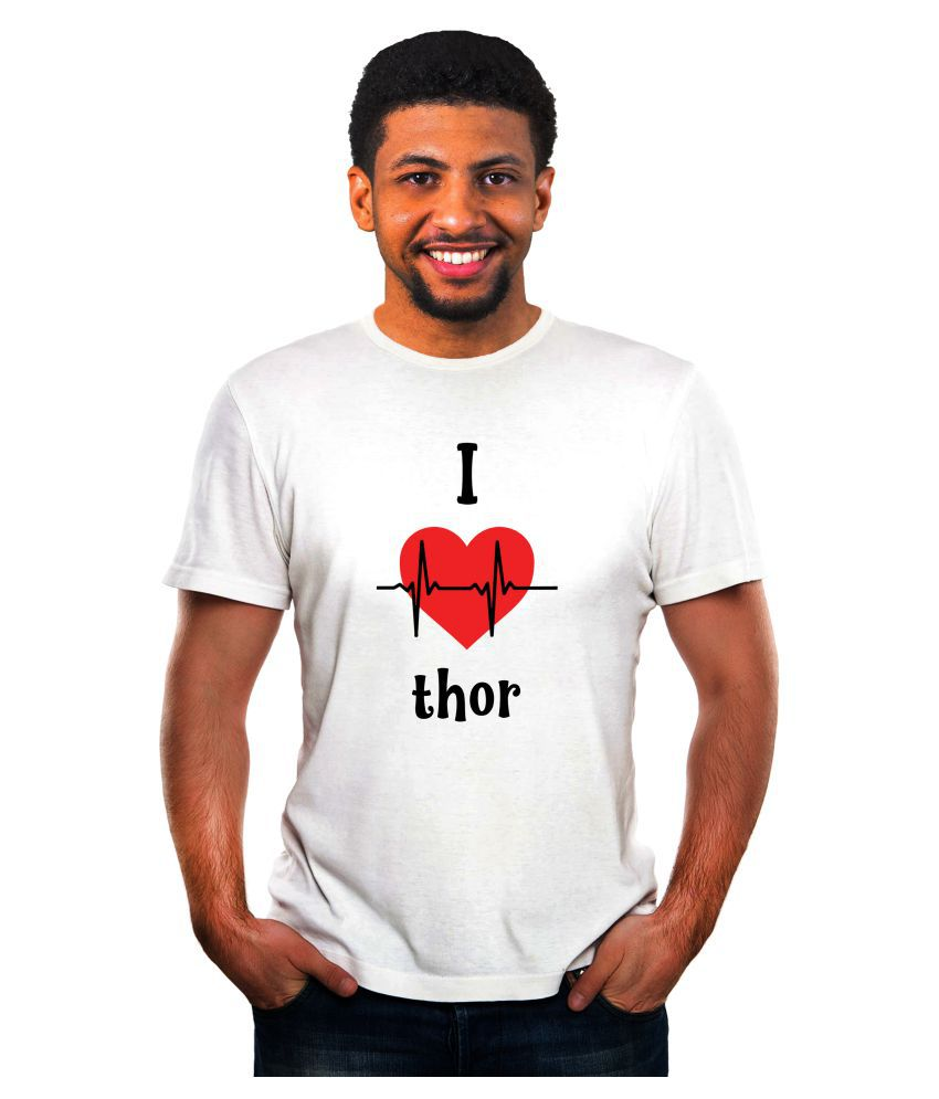 Ritzees Unisex Half Sleeve Dry Fit White Polyester T-Shirt on I Love Thor