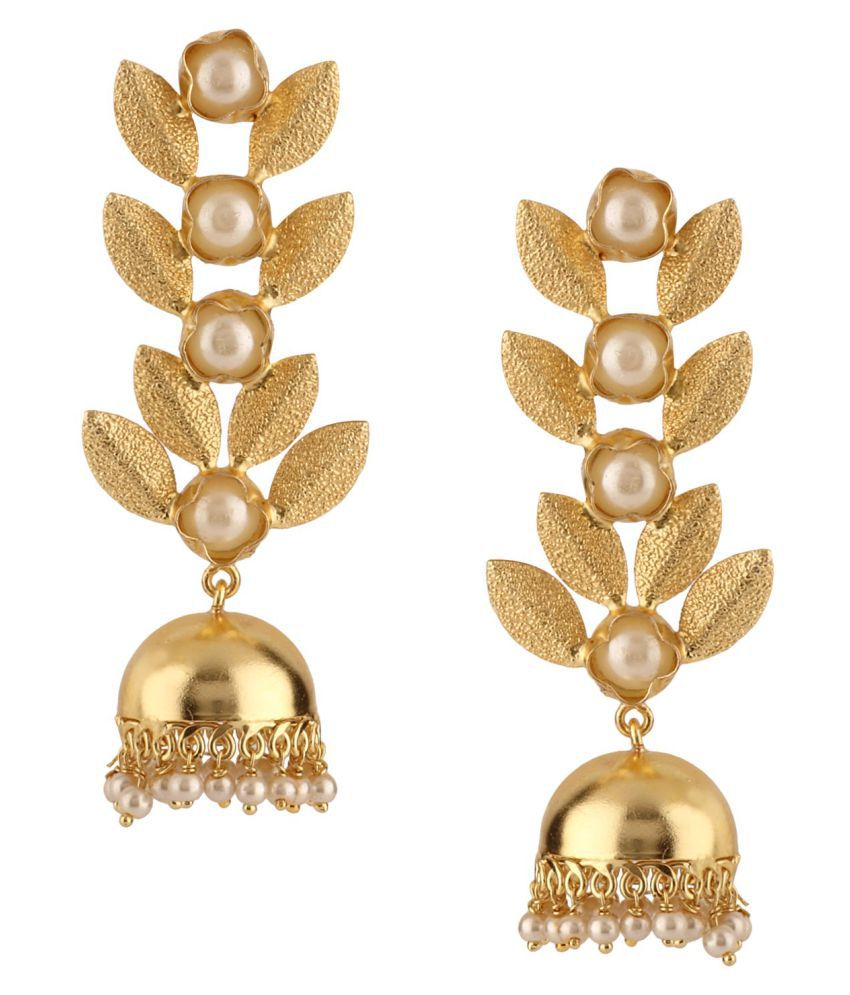 Archi Collection Jewellery Stylish Gold Plated Kundan Pearl Drop Fashion Wedding Party Wear Leaf Climber Dangler Jhumkis Earrings for Women Girls (Colour Options)