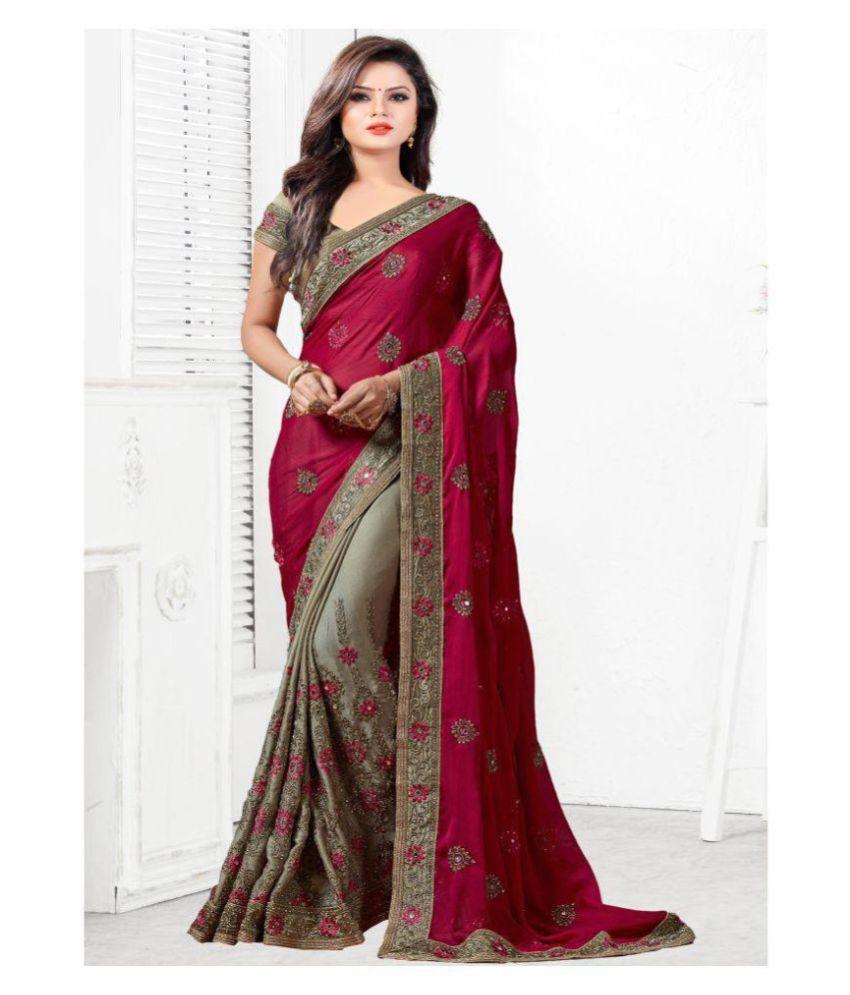 1057ab28ba SareeShop Designer SareeS Red and Brown Chiffon Saree - Buy ...