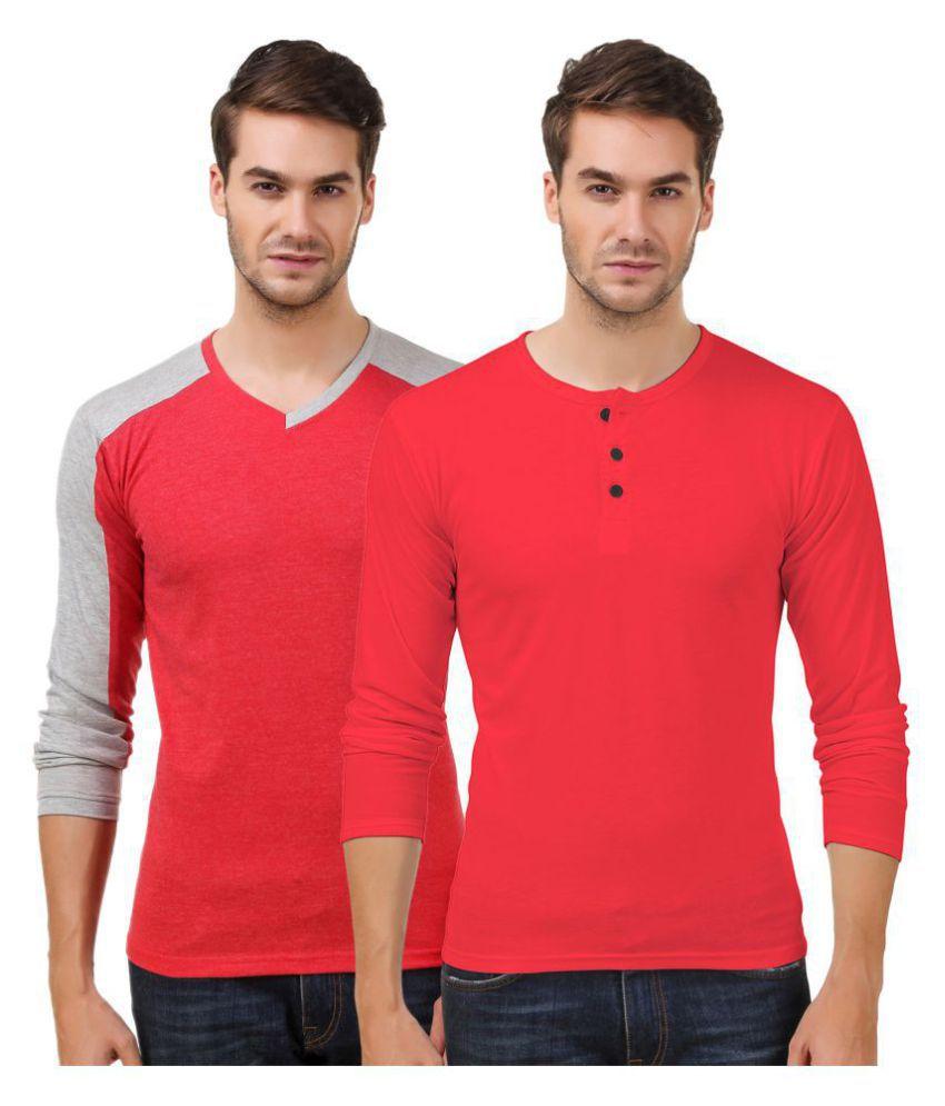 Sen Voler Red Full Sleeve T-Shirt Pack of 2