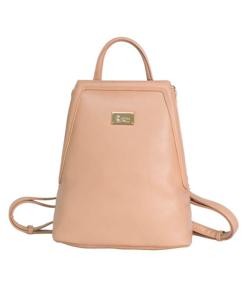 Swiss Miss Pink Faux Leather Backpack