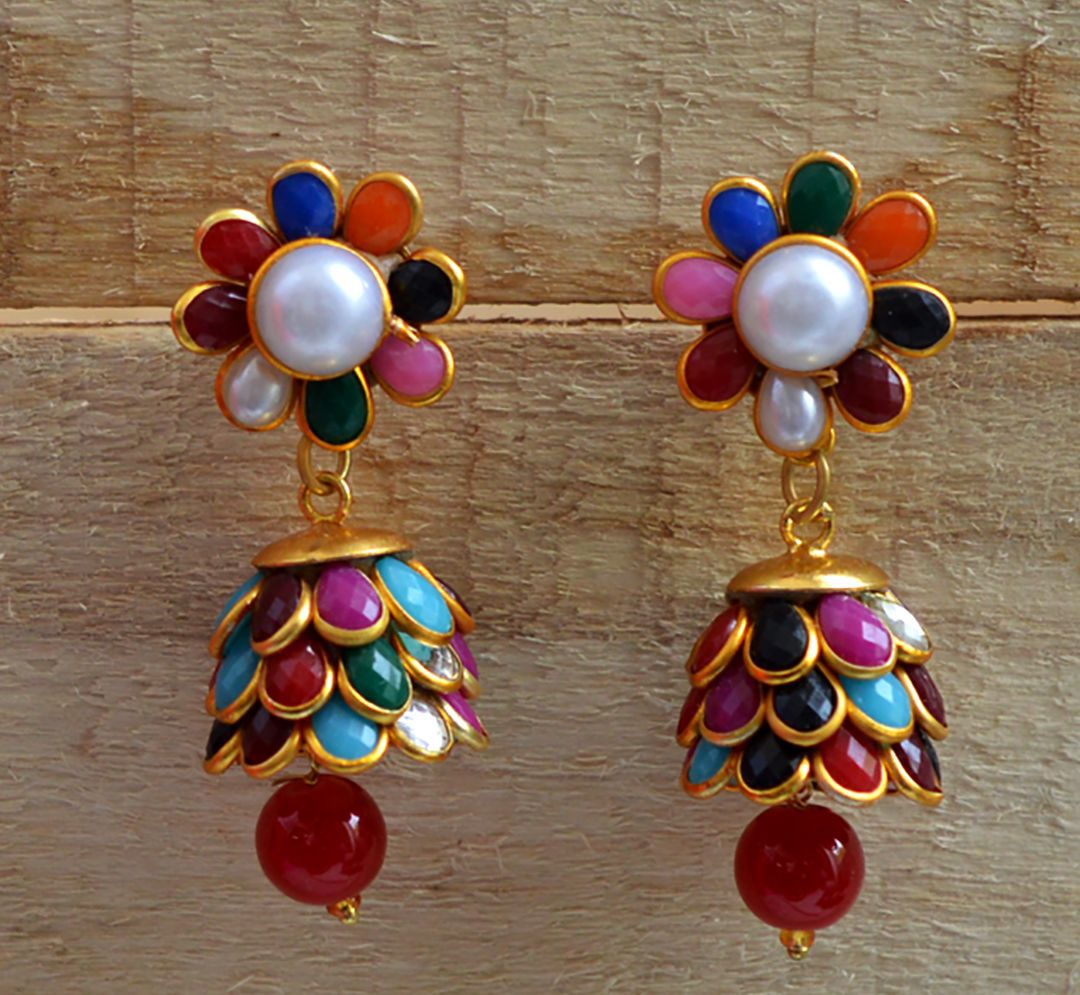 Designer Pacchi pearl stone Multi gold plated jhumki earrings for women girls and gifts