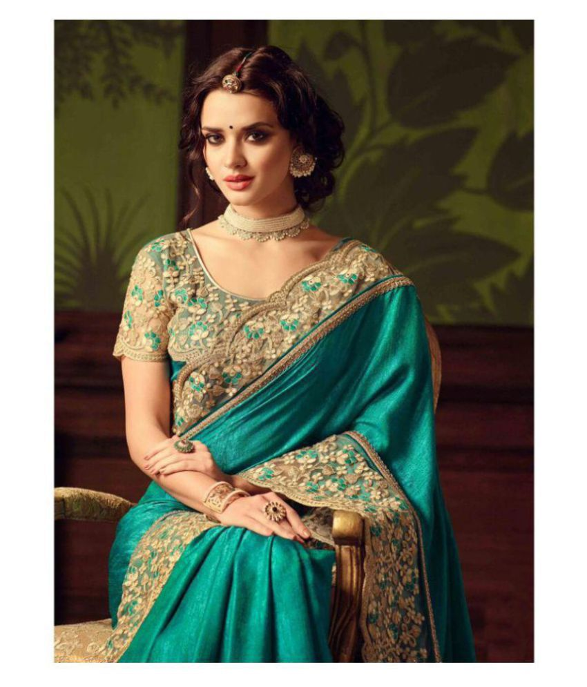Designer Saree Wedding Green And Beige Silk Saree