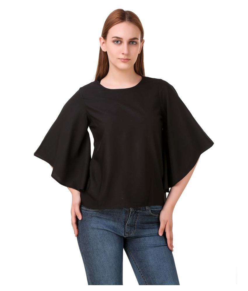 Kalakaari Crepe Regular Tops - Black