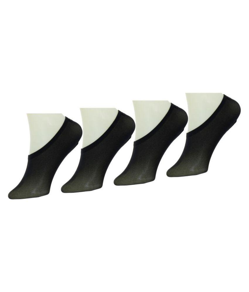 Neska Moda Women's 4 Pairs Black Cotton Belly Low Cut Socks With Silicon Gel Grip