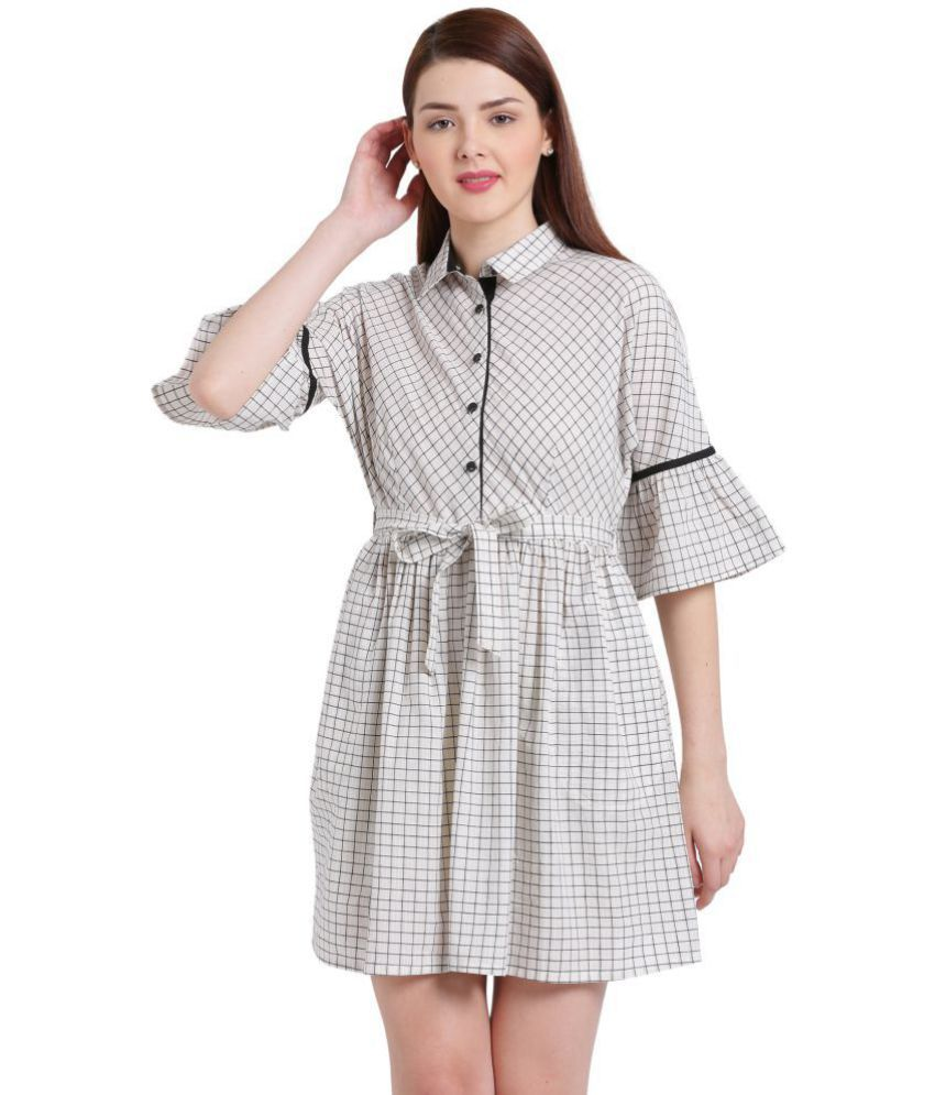 Texco Cotton Off White Shirt Dress