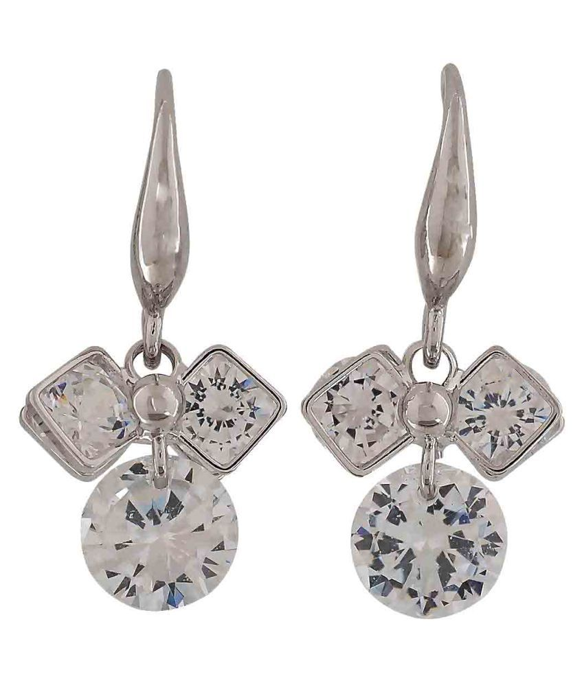 Maayra CZ Earrings Silver Dangler Drop Party Jewellery