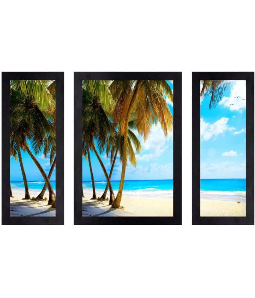 CRAFTSFEST BEAUTIFUL SEA BEACH SCENERY PAINTING MDF Painting With Frame