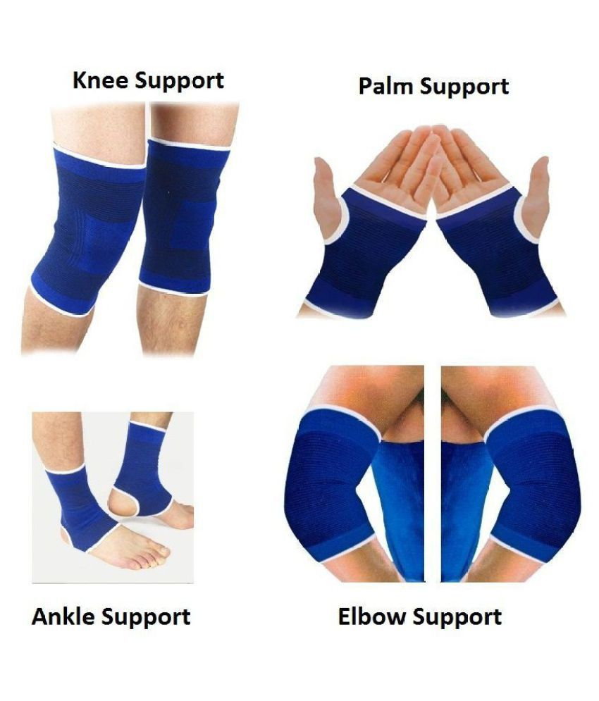 LATEXO Fitness Combo of Pair of Ankle, Knee, Palm & Elbow Support