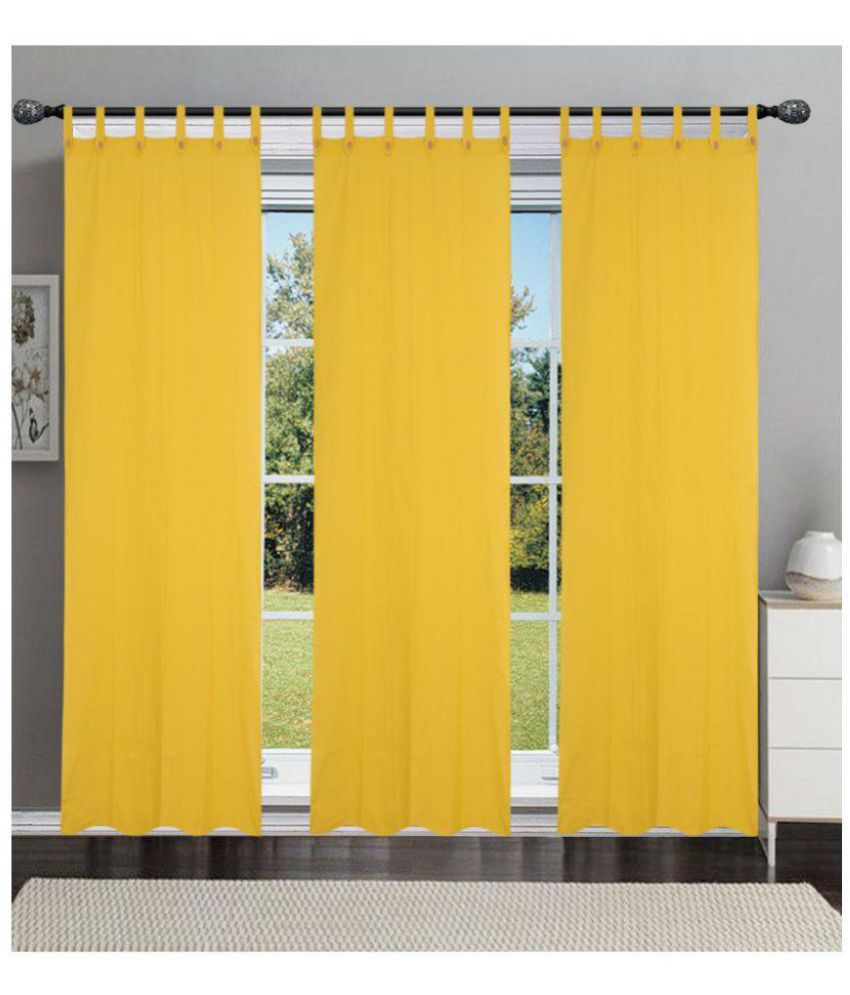 New Ladies Zone Set of 3 Window Transparent Loop Cotton Curtains Yellow