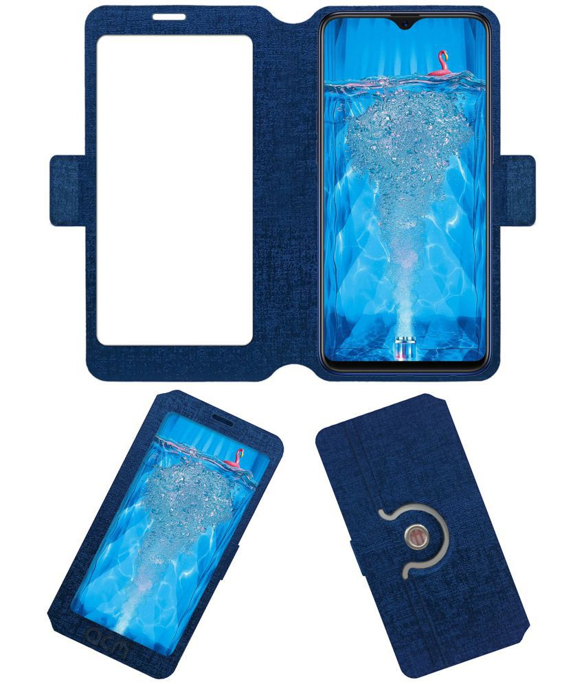 Oppo F9 Flip Cover by ACM - Blue Dual Side Stand