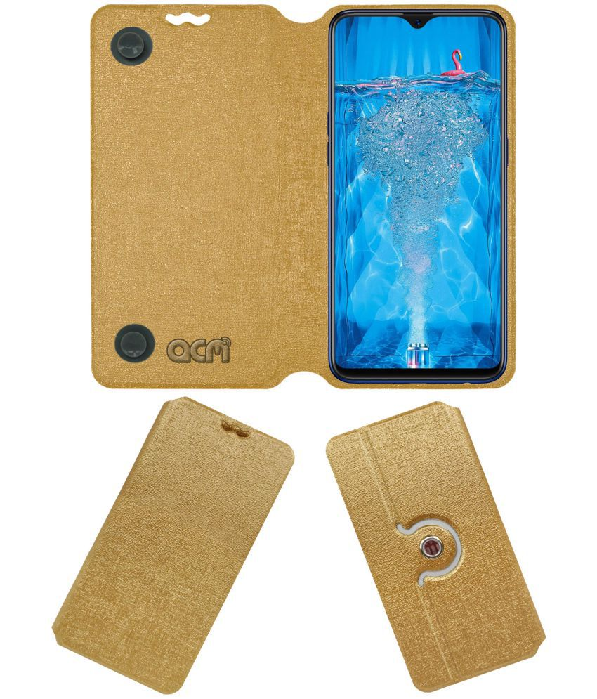 Oppo F9 Pro Flip Cover by ACM - Golden Dual Side Stand