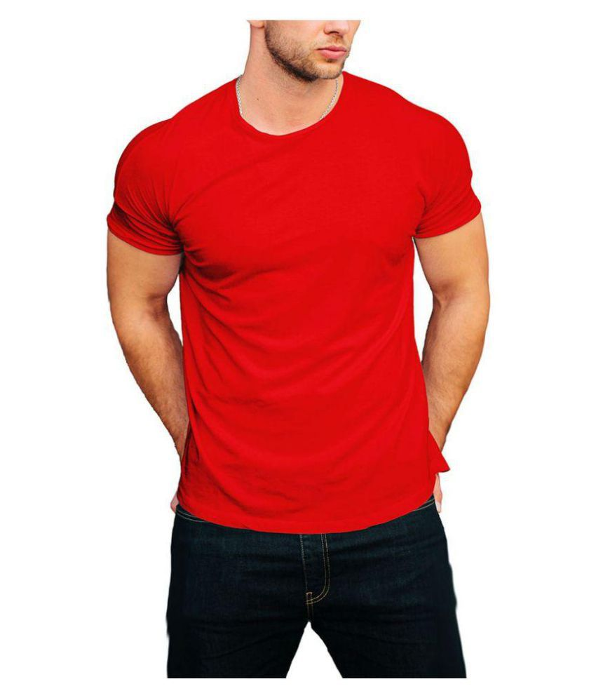 InkMyTale Red Half Sleeve T-Shirt Pack of 1