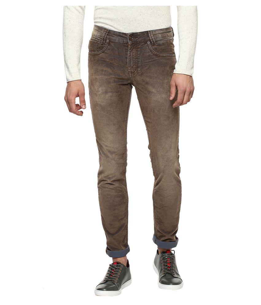 Mufti Brown Slim -Fit Flat Trousers