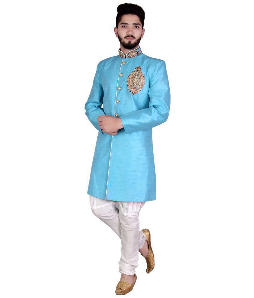 SG RAJASAHAB Sky Blue Silk Sherwani