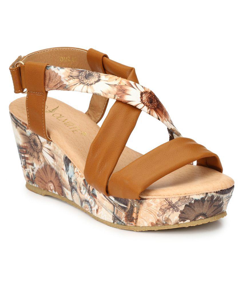 OLMIITE Brown Wedges Heels