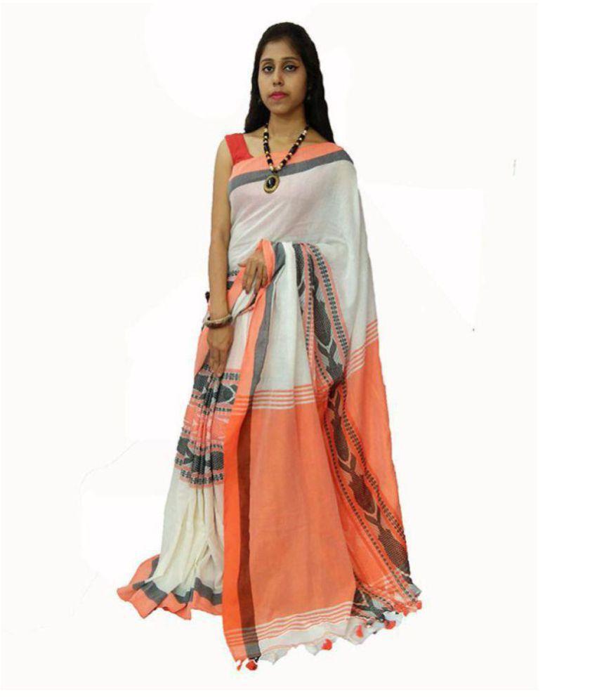 PARINEETA HANDICRAFTS Off White Bengal Handloom Saree