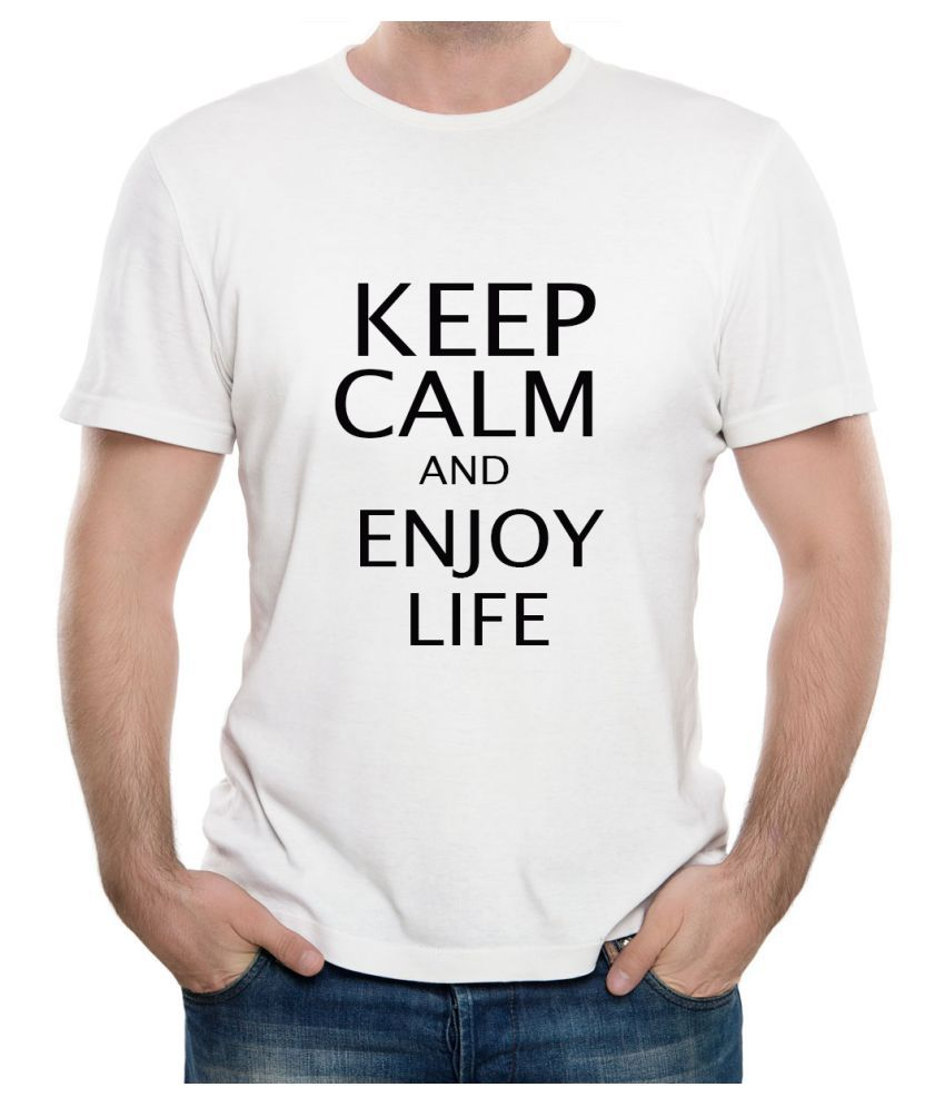 Ritzees Unisex Half Sleeve Dry Fit White Polyester T-Shirt on Keep Calm and Enjoy Life