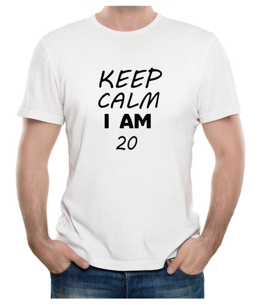 Ritzees Unisex Half Sleeve Dry Fit White Polyester T-Shirt on Keep Calm I Am 2038 (Small)