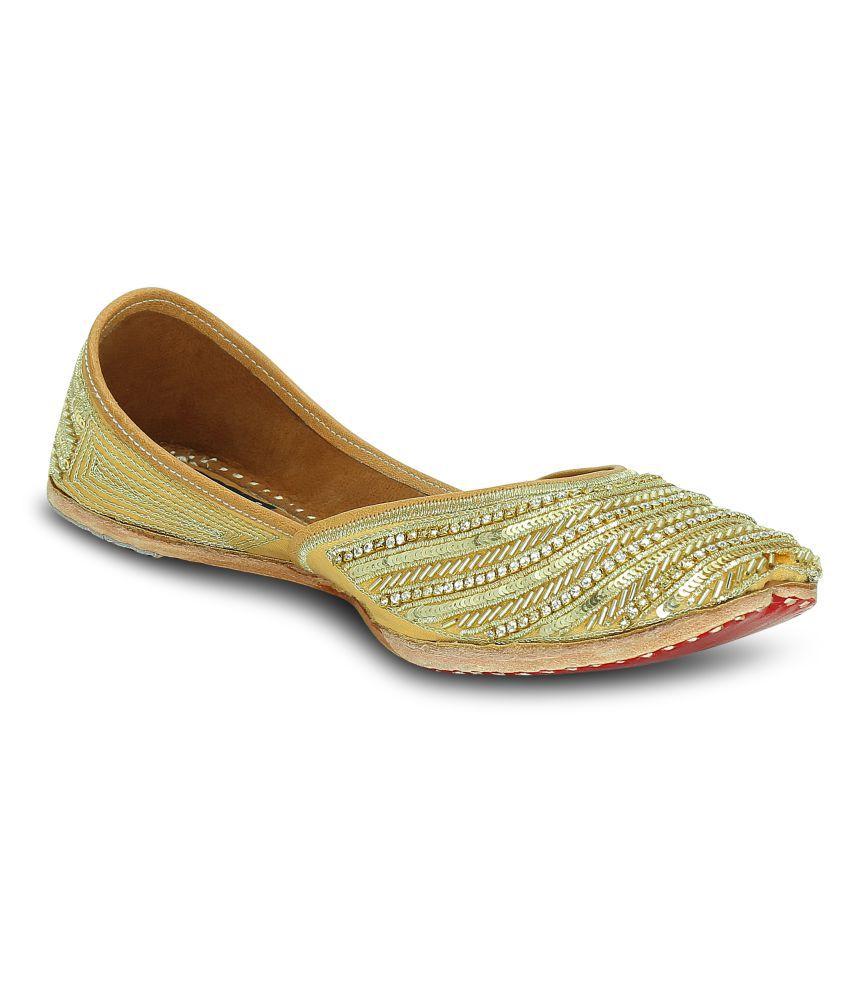 Get Glamr Gold Ethnic Footwear