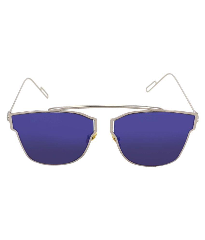 PRINCE ENTERPRISES Blue Aviator Sunglasses ( PEAVSLVRBL076 )