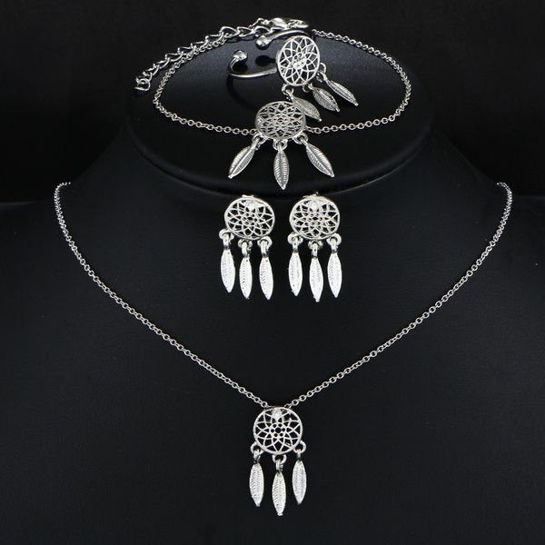 Kamalife Dream Catcher Hollow Silver Tassel Indian FeaTher AllMatch Women Necklace Stud Earring Bracelet Ring Bohemia Style Fashion Fine Jewelry Set Gifts