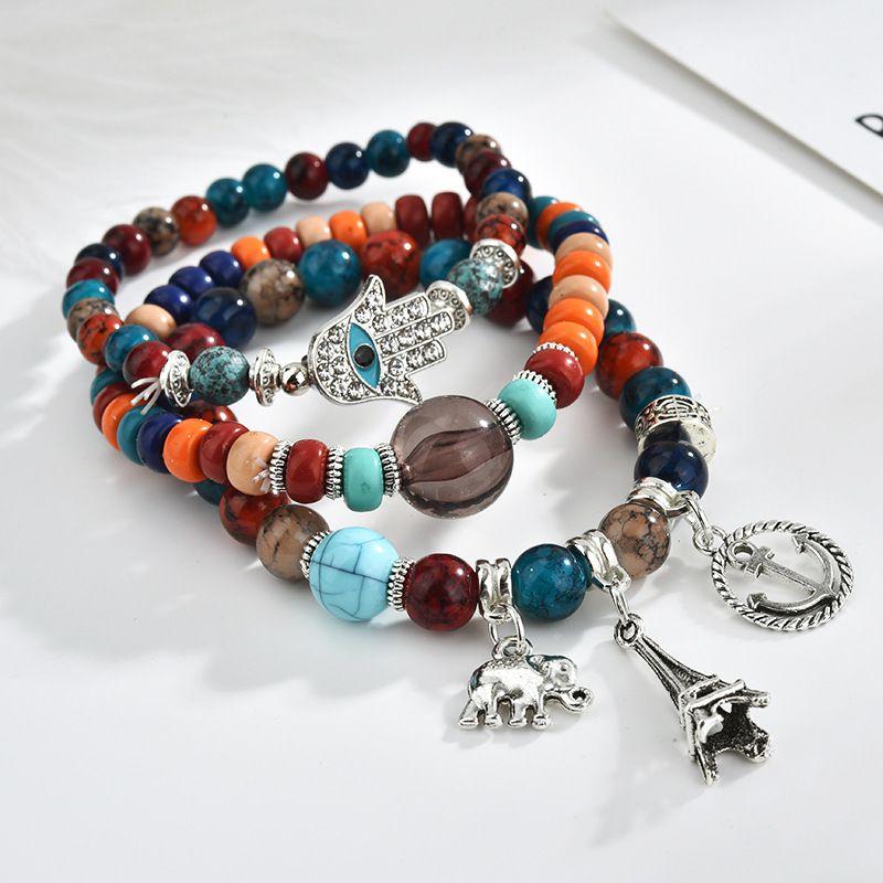 Kamalife Fashion Vintage Palm Love Elephant Multilayer Bracelet Jewelry For Women