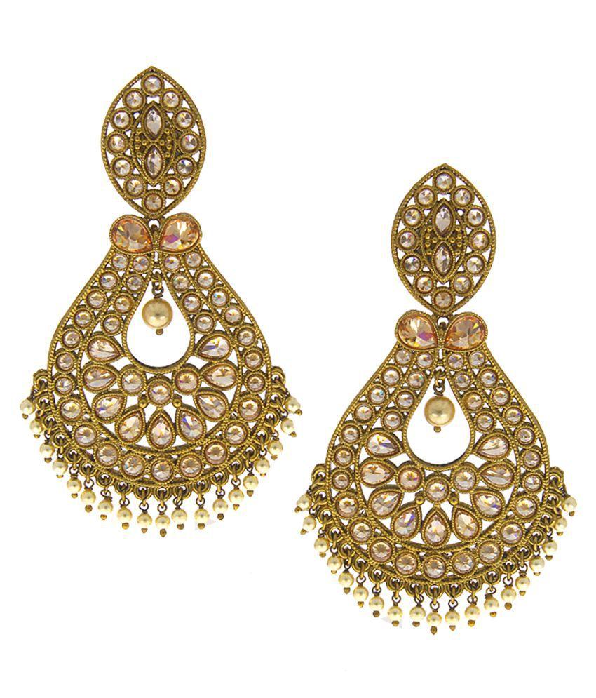 Anuradha Art Golden Colour Studded Sparkling Shimmering Stone Traditiona Earrings For Women/Girls