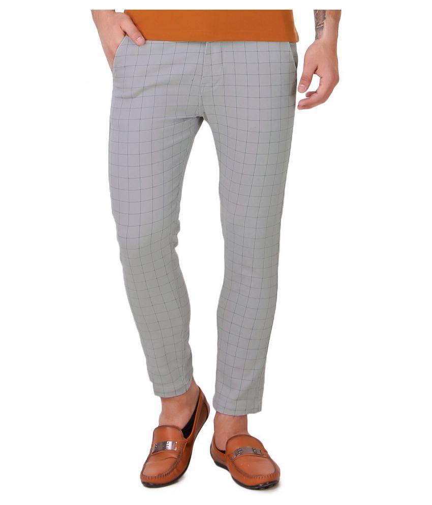 Lafantar Grey Skinny -Fit Flat Chinos
