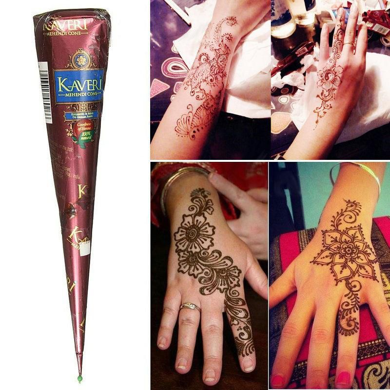 7ff977fe6 3 Colors Body Art Paint Natural Herbal Henna Cones Temporary Tattoo Mehandi  Ink ...