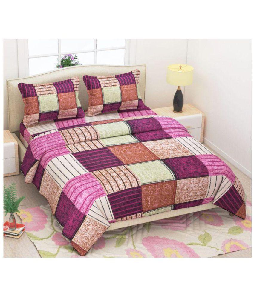 Vartika Enterprises Cotton Double Bedsheet with 2 Pillow Covers