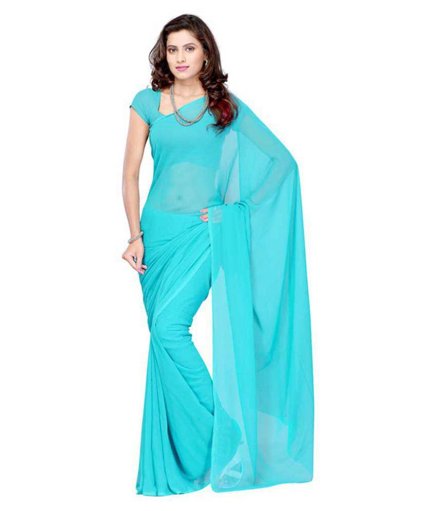 Multi Retail Turquoise Georgette Saree