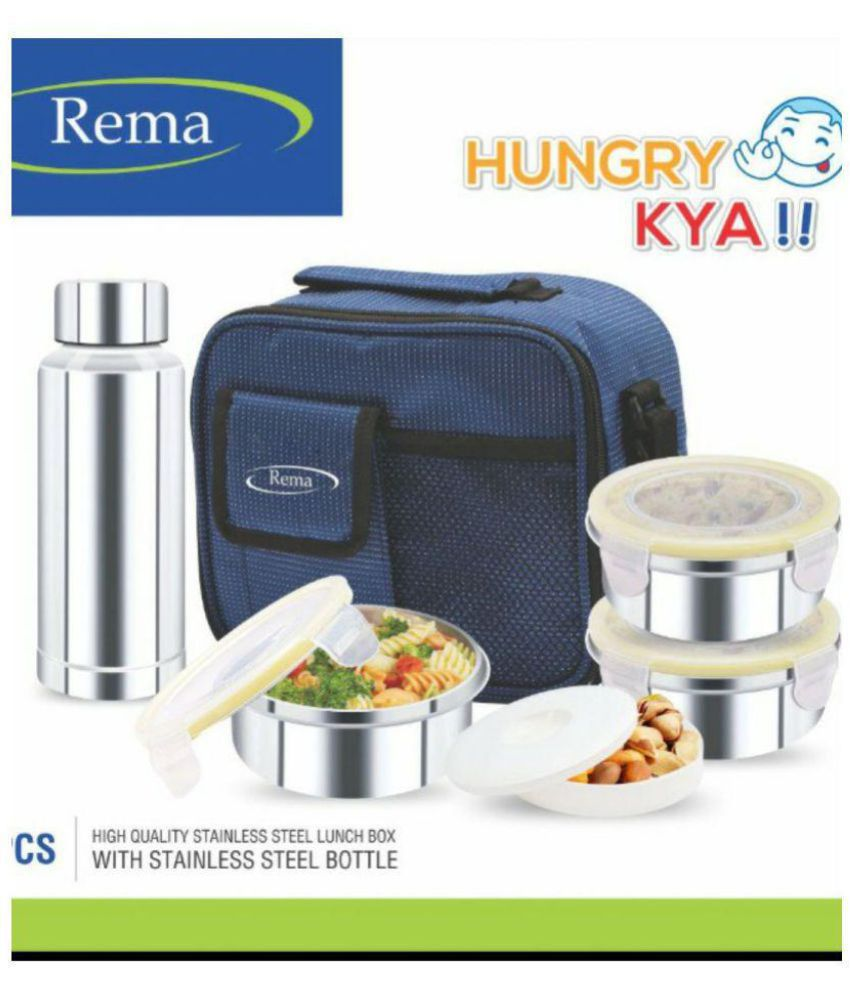 ad664c8b7e5 Rema Enterprise Blue Stainless Steel Lunch Box  Buy Online at Best Price in  India - Snapdeal
