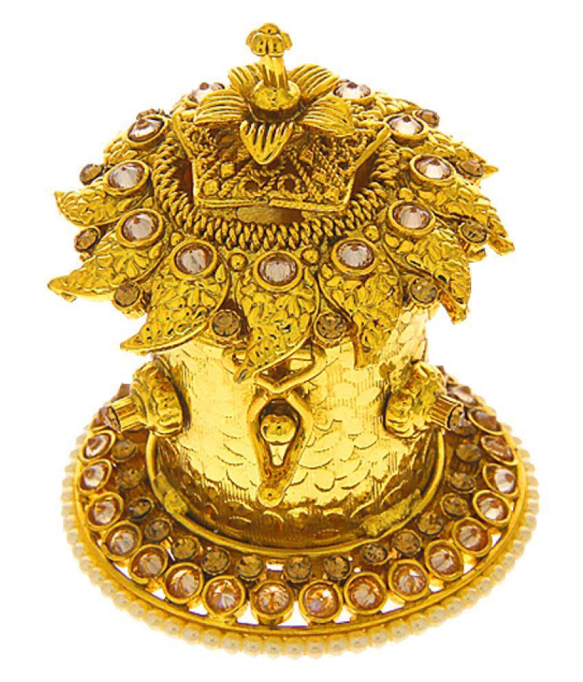 Anuradha Art Gold Finish Studded Peach Stone Designer Sindoor Box For Women