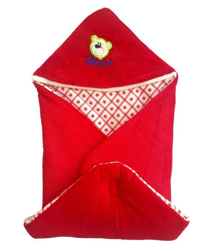 EasyHome Red Velvet Baby Wrap cum blanket ( 67 cm × 67 cm - 1 pcs)