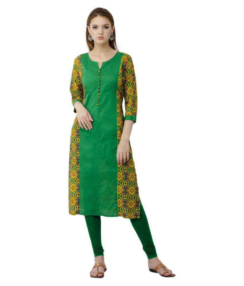 Rishaga Green Cotton Straight Kurti