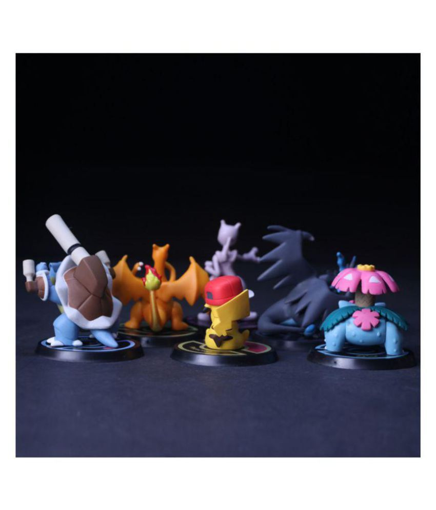 set of 6 pokemon action figures pokeball pikachu mewtwo rh snapdeal com