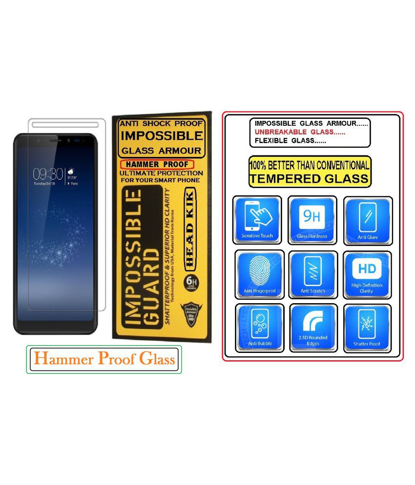 Motorola Moto C Tempered Glass Screen Guard By Head Kik Flexible 100% Hammer Proof Impossible Tempered