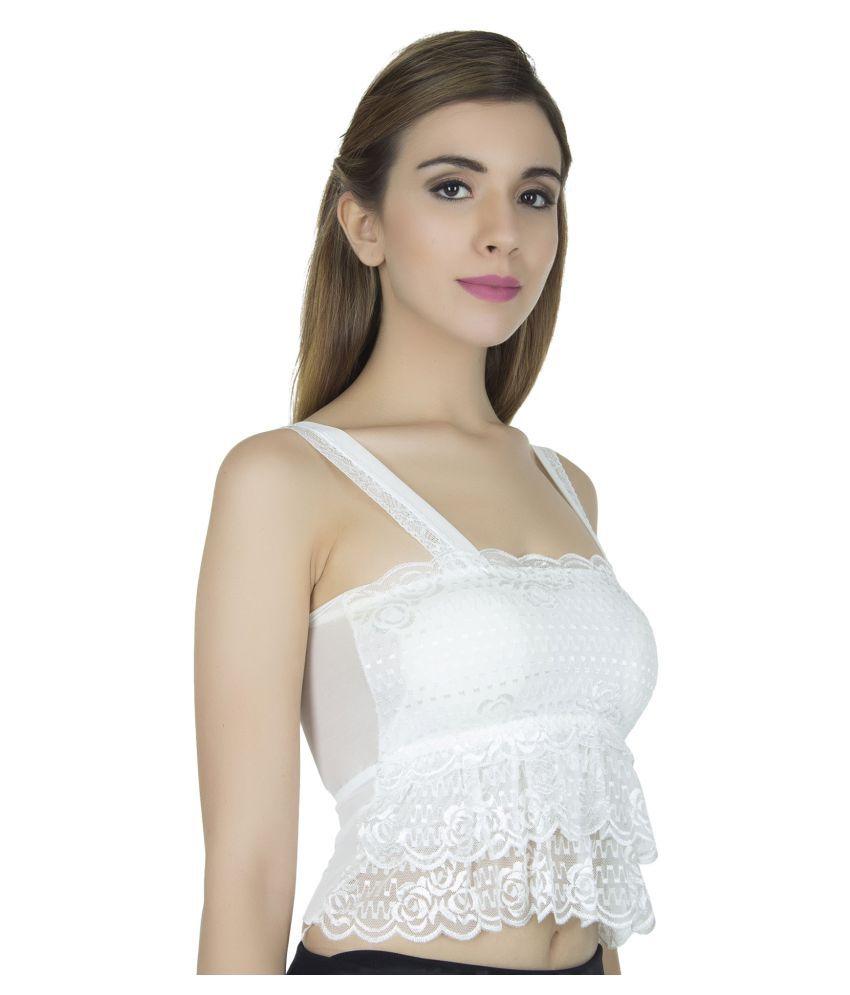 Jara Collection Polyester Seamless Bra - White