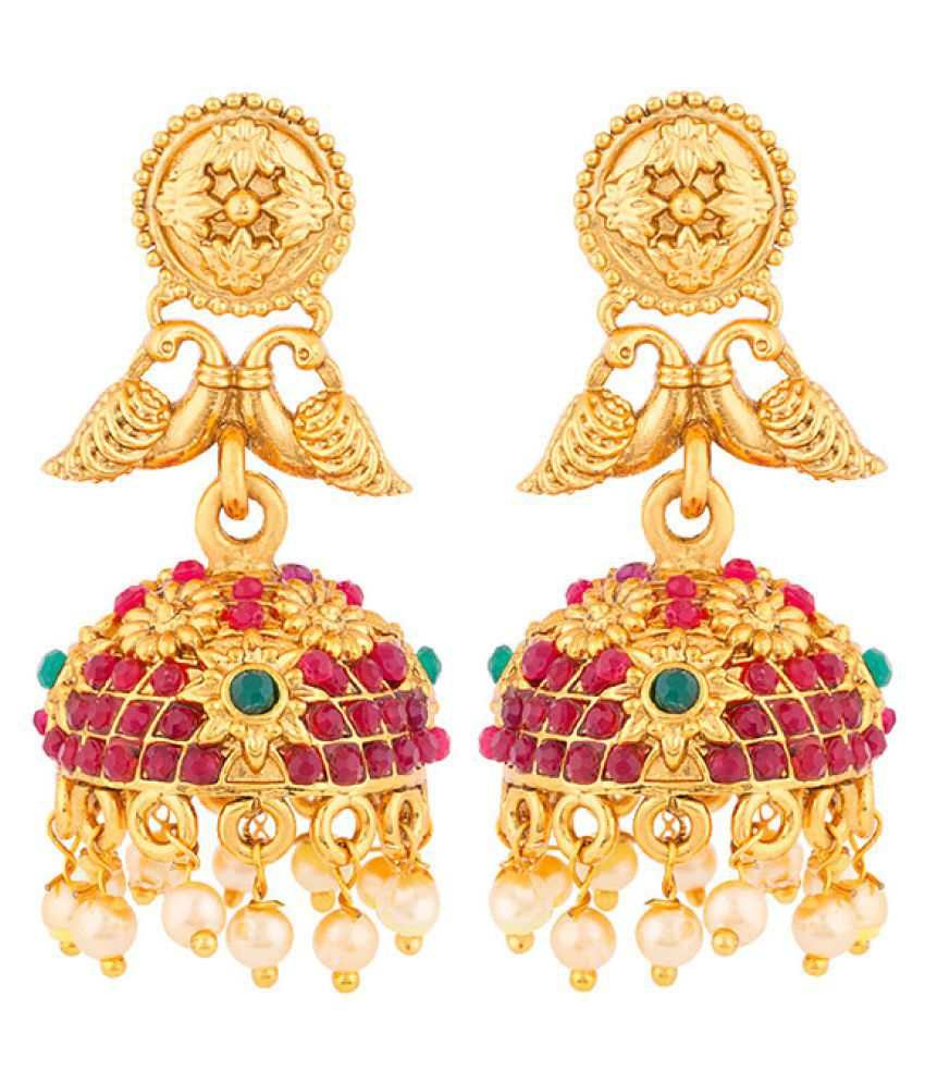 Voylla Peacock Motif Gem Studded Earrings