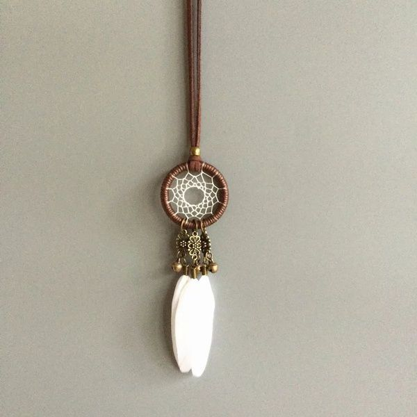 Kamalife 3.5CM Diameter Small Dream catcher feather necklace vintage indian jewelry necklace
