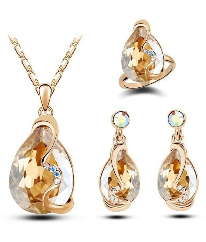 Kamalife Fashion Gold Plated Austrian Crystal Set Earrings+pendant Necklace+Rings Jewelry Sets Gold