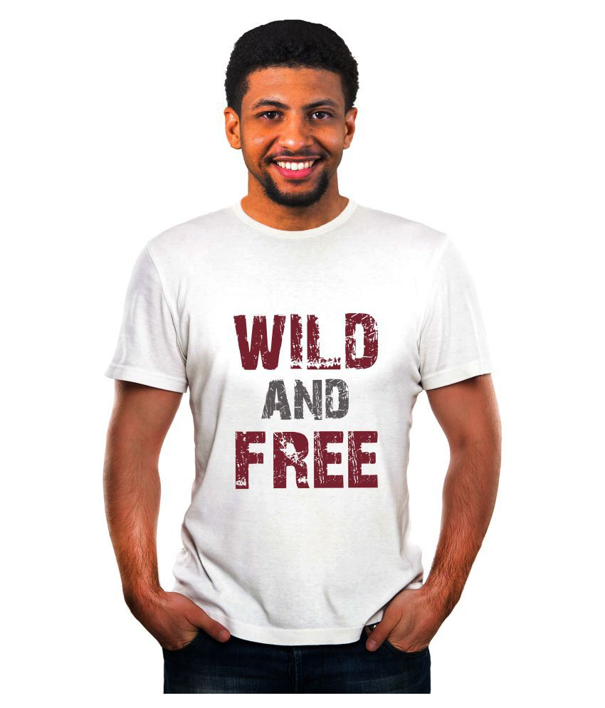 Ritzees Unisex Half Sleeve Dry Fit White Polyester T-Shirt on Wild and Free Size-S