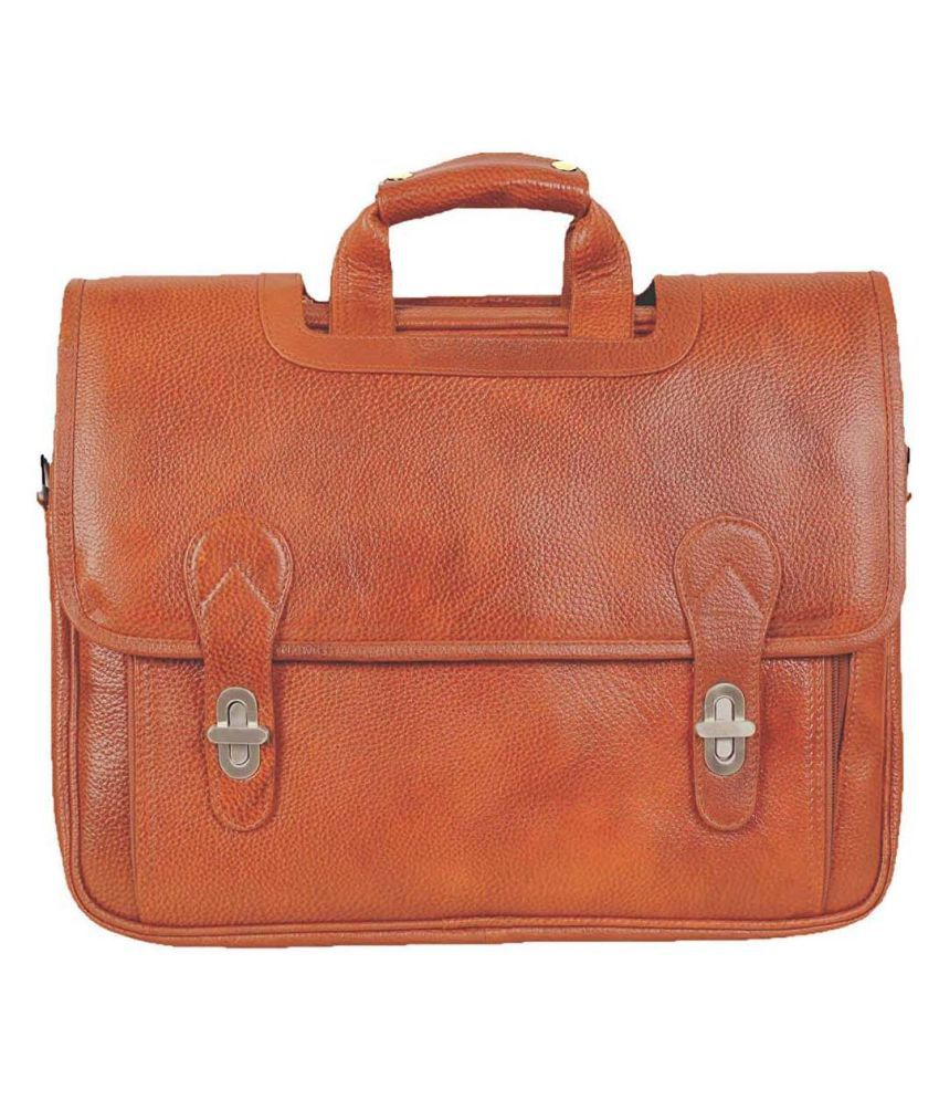 Hifly Messenger Shoulder Bag with Expandable Features Tan Leather Office Messenger Bag