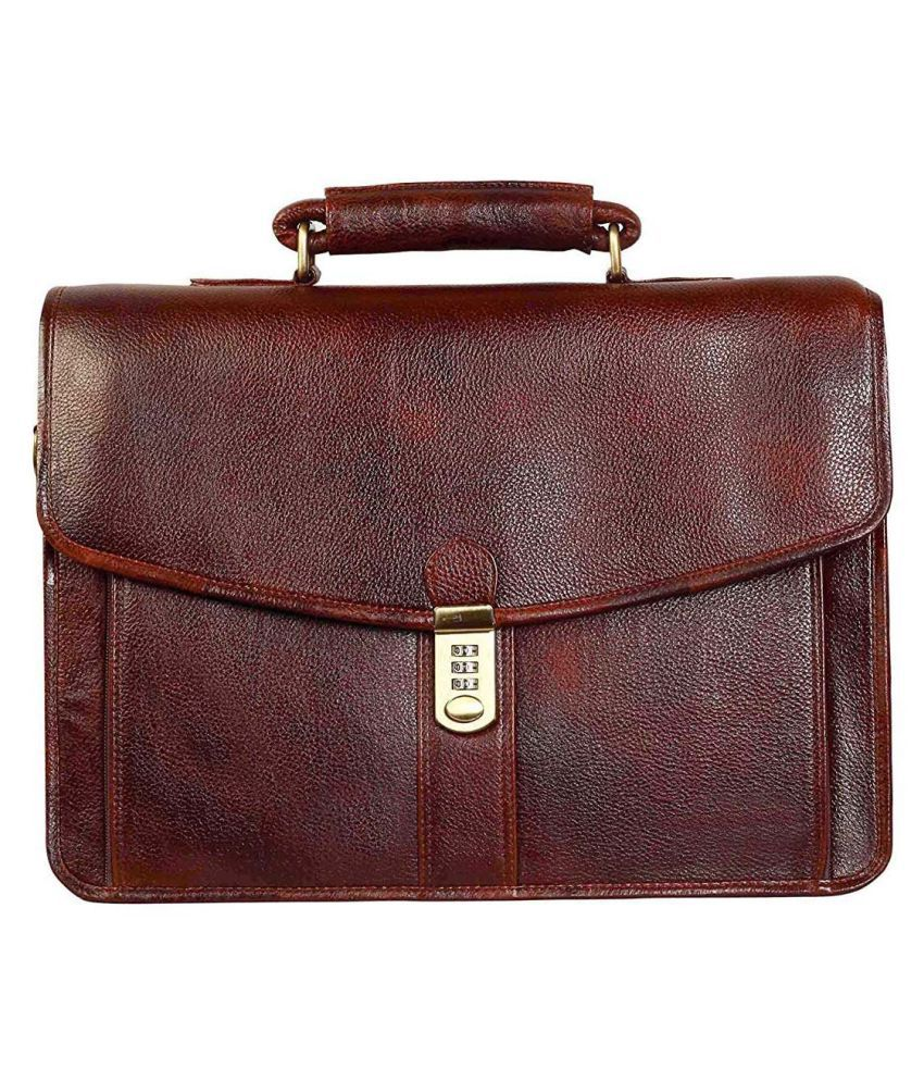 Hifly Messenger Shoulder Bag with Expandable Features Brown Leather Office Messenger Bag