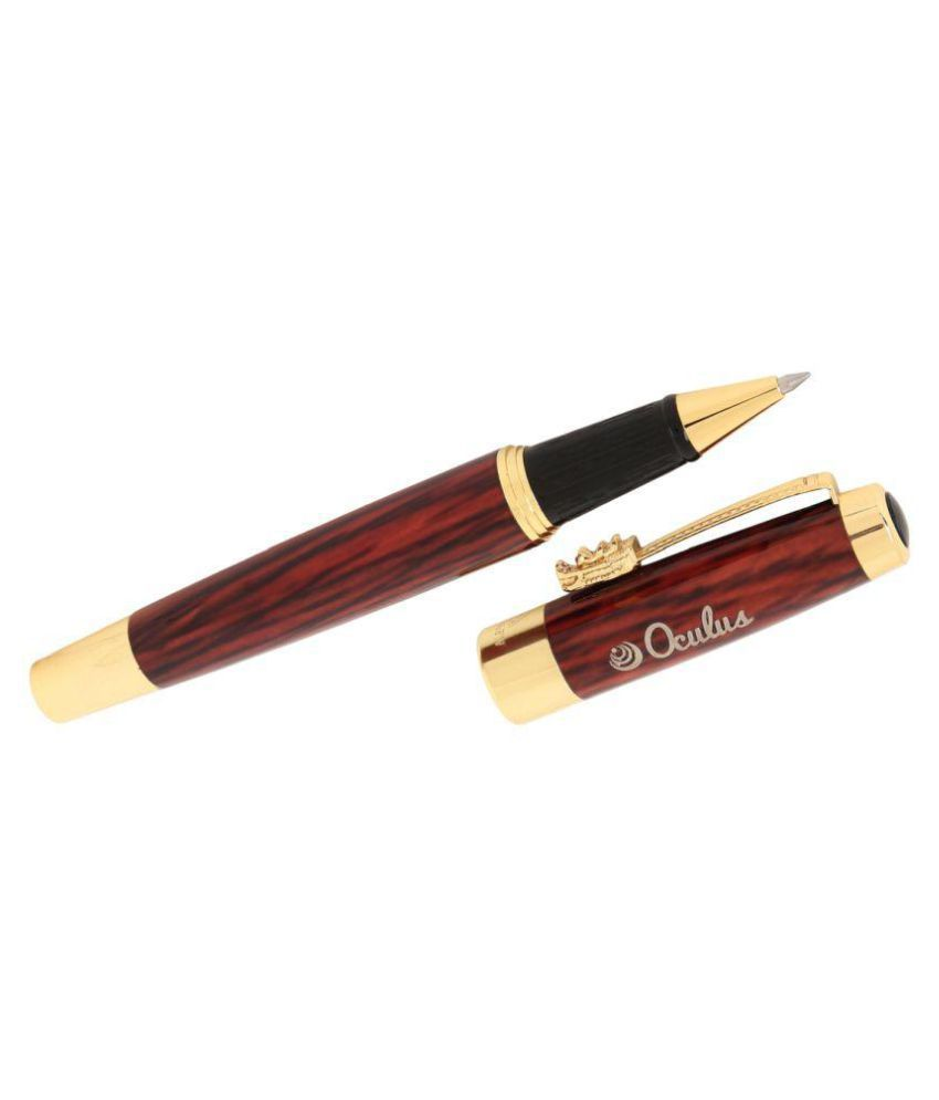 Oculus™ Granite Marble -2311 Unique Golden Trims With Dragon Clip, Unique  Brown Wooden Look Marble Finish metallic Roller Ball Pen, Fitted with