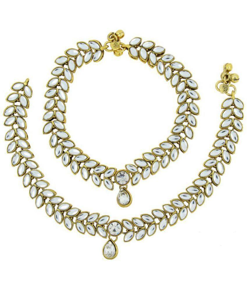 The Jewelbox Antique Traditional Leaf Design Kundan Look Pair Of Anklet