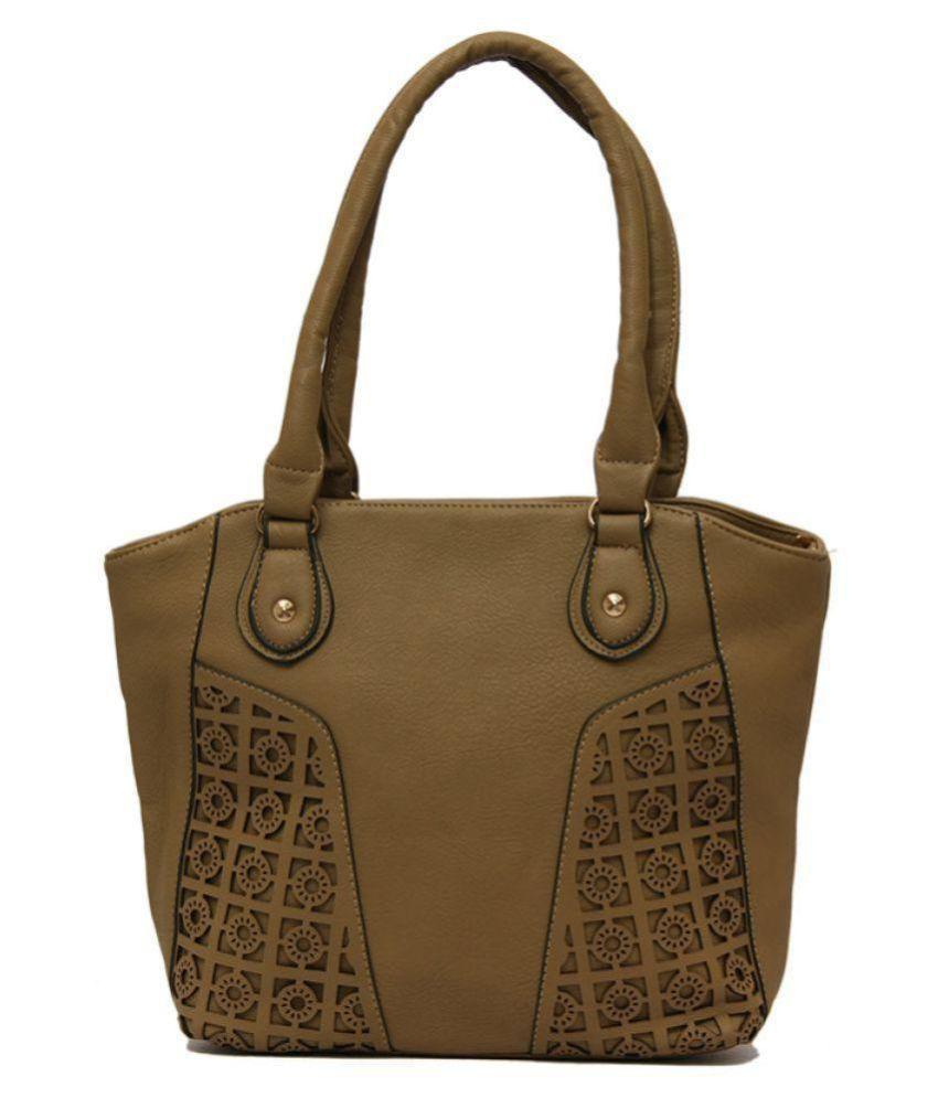 Louise Belgium Khaki P.U. Shoulder Bag