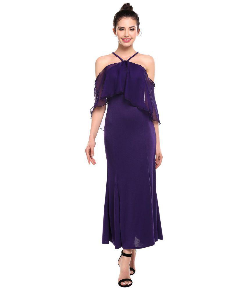 Generic Polyester purple Asymmetric dress